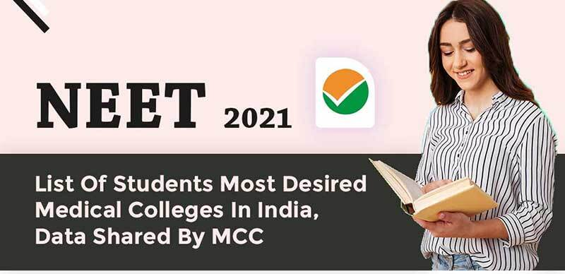 NEET 2021 : List Of Students Most Desired Medical Colleges In India, Data Shared By MCC
